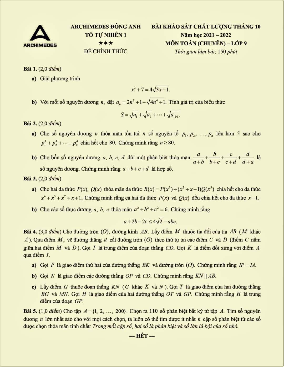 Đề khảo sát môn Toán 9 THCS Archimedes Đông Anh tháng 10 năm 2021